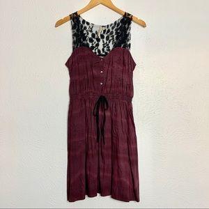 Petticoat Alley Sheer Lace Tank Dress • Maroon